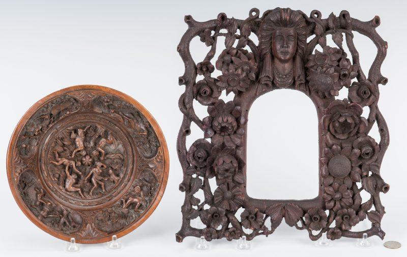Lot 104: 2 Carved Wood Items, Frame & Bowl