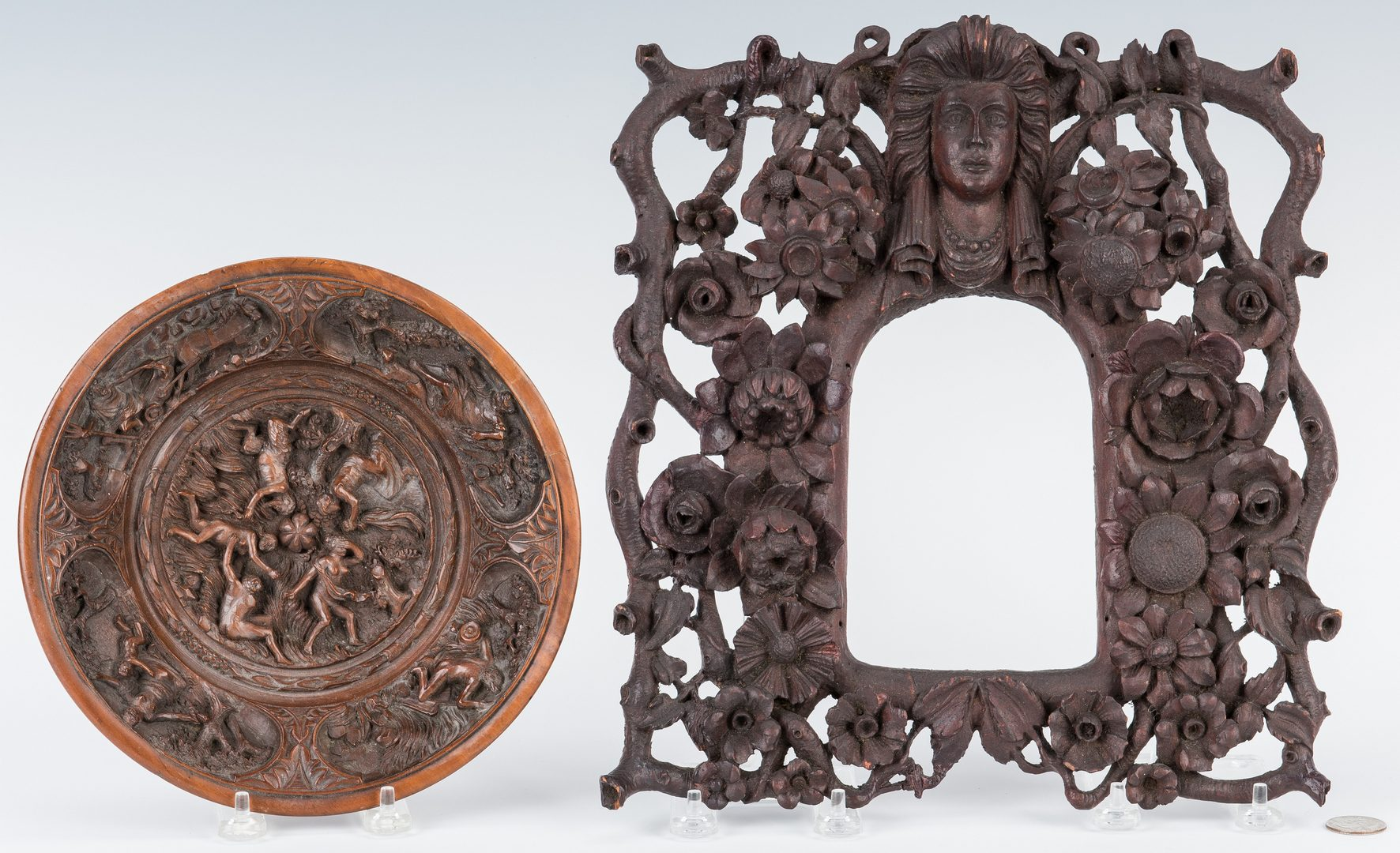 Lot 104: 2 Carved Wood Items, Frame & Bowl
