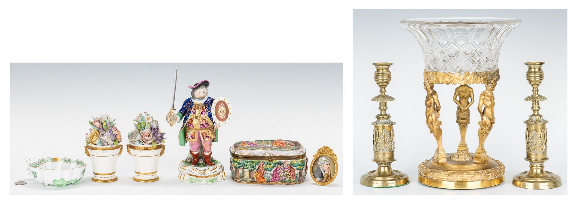 Lot 105: 9 European Decorative Accessories inc. Satyr Compo