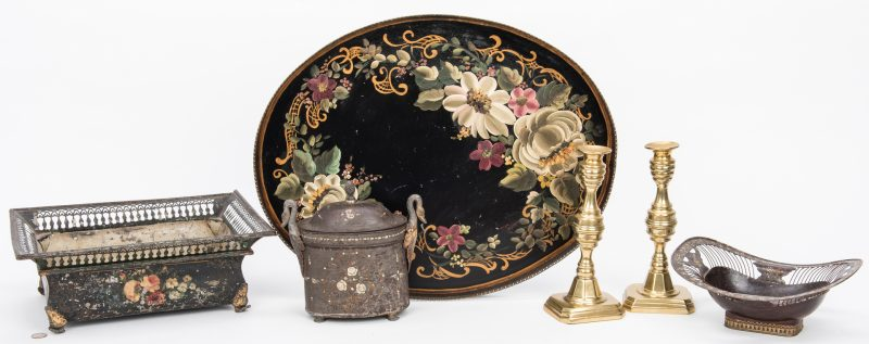 Lot 108: 4 Toleware Items & Pr. Brass Candlesticks