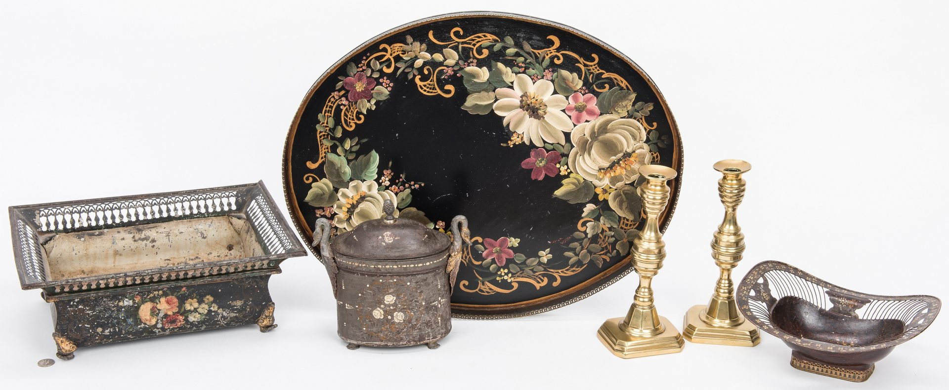Lot 108: 4 Toleware Items & Pr. Brass Candlesticks