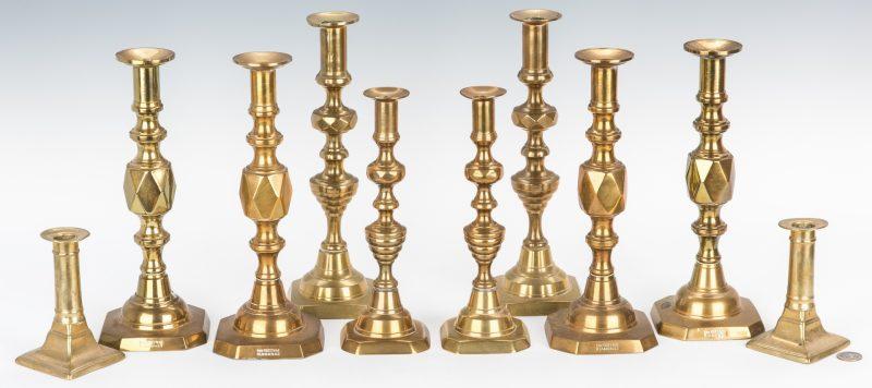 Lot 109: 5 Prs. 19th Century English Brass Candlesticks