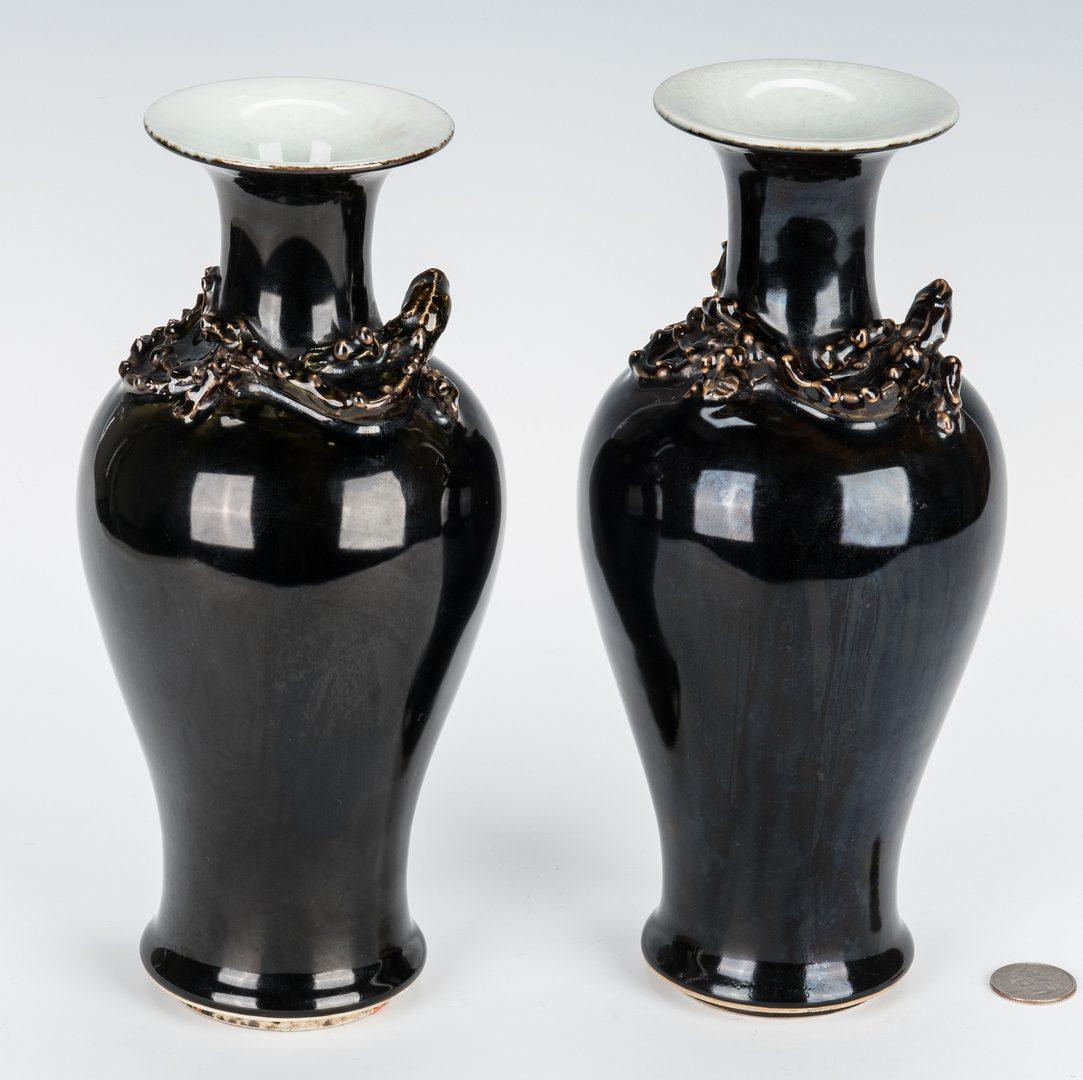 Lot 10: 2 Chinese Mirror Black Vases