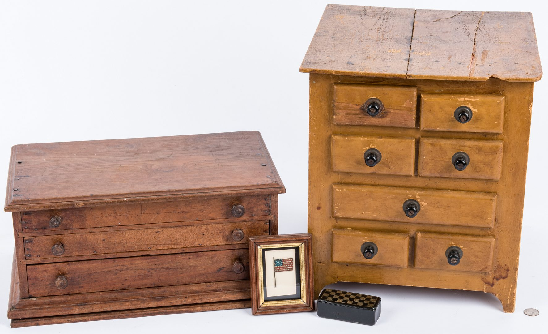 Lot 112: 2 Small Cabinets, Snuff Box & Framed Flag, 4 items