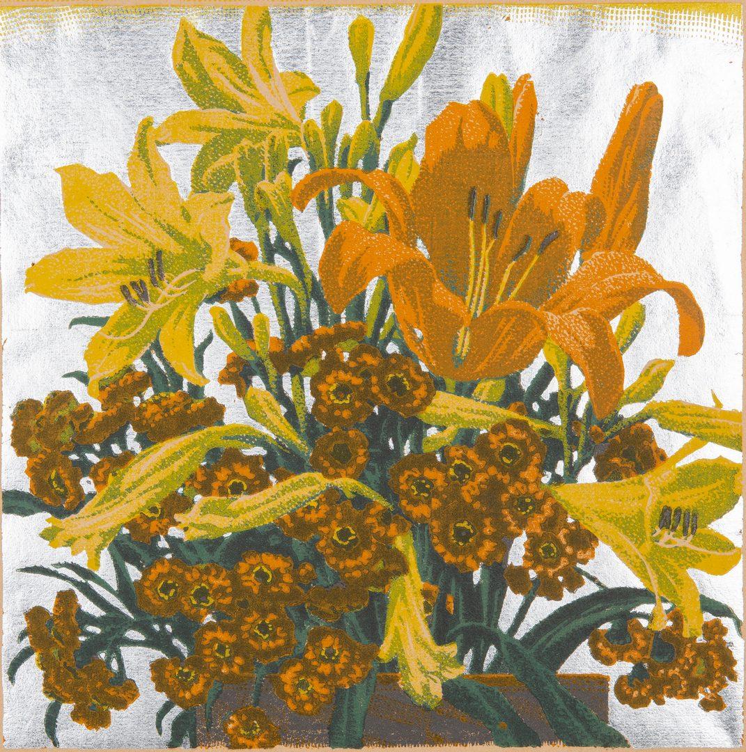 Lot 118: Gustave Baumann Colored Woodcut,  From Hillside Gardens