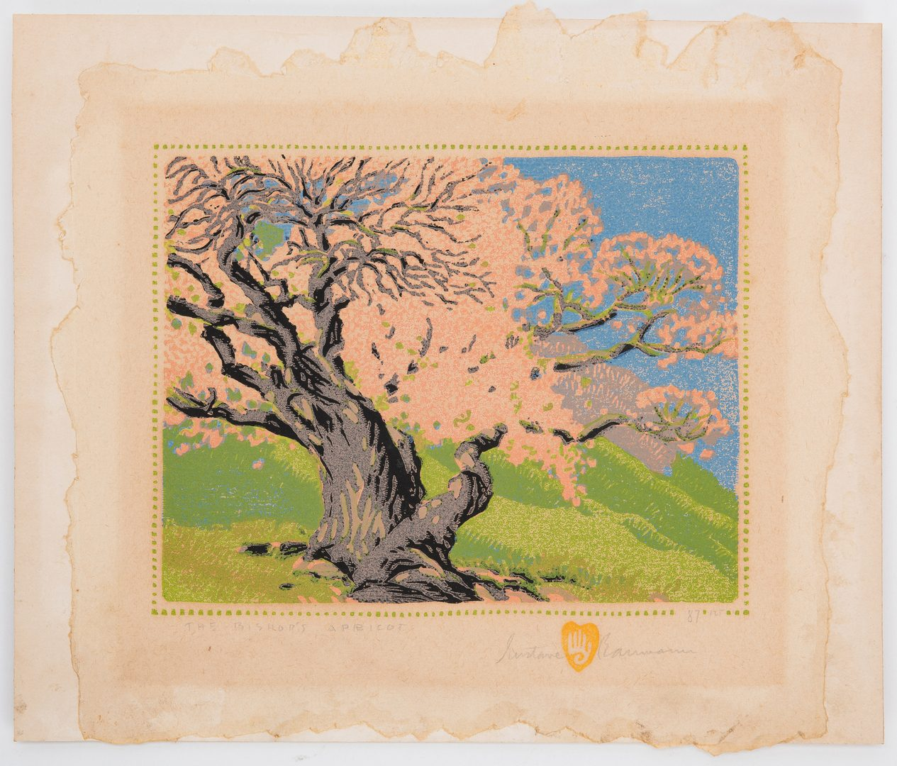 Lot 119: Gustave Baumann Colored Woodblock Print, Bishop's Apricot