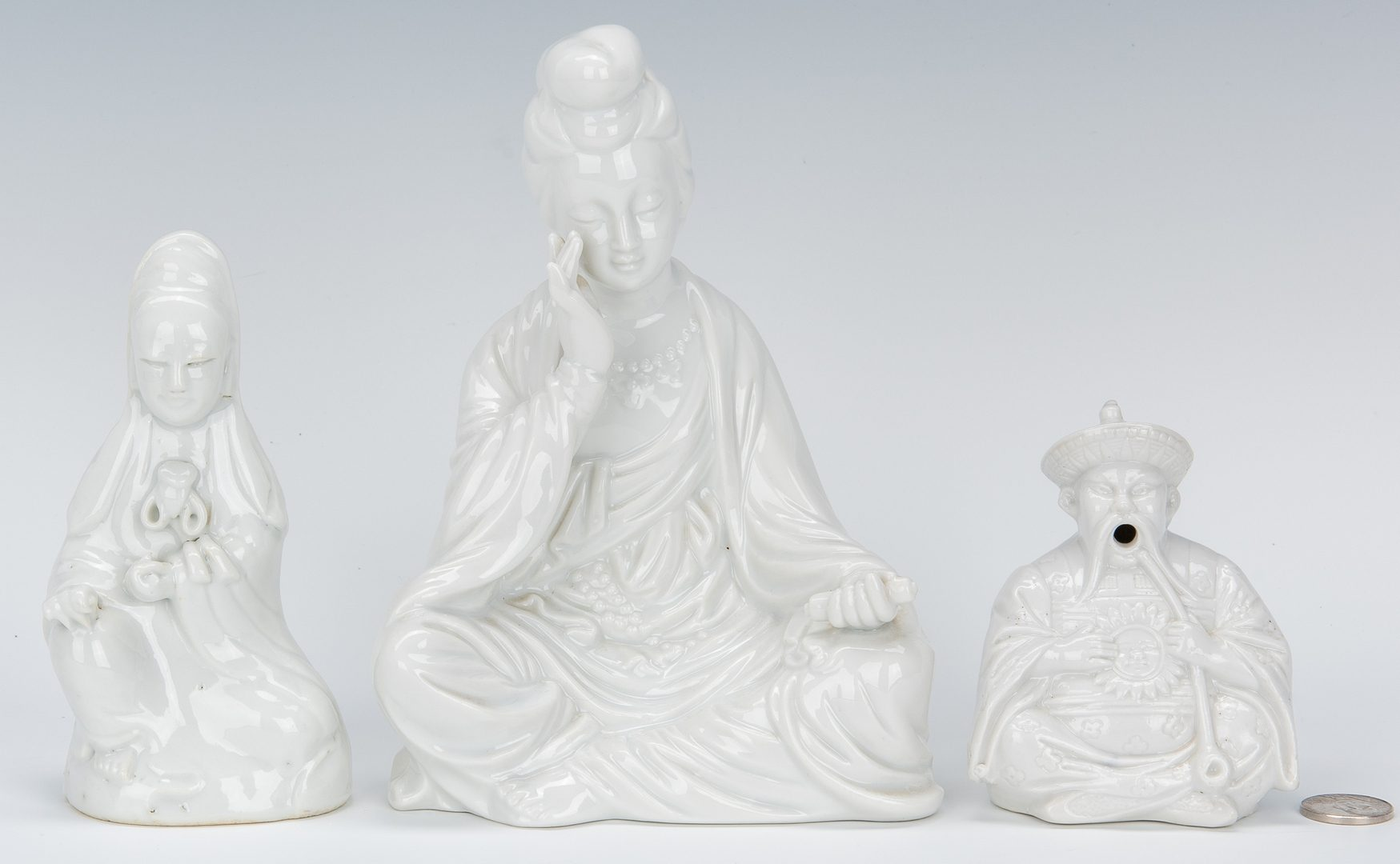 Lot 11: 3 Chinese Blanc De Chine Figures