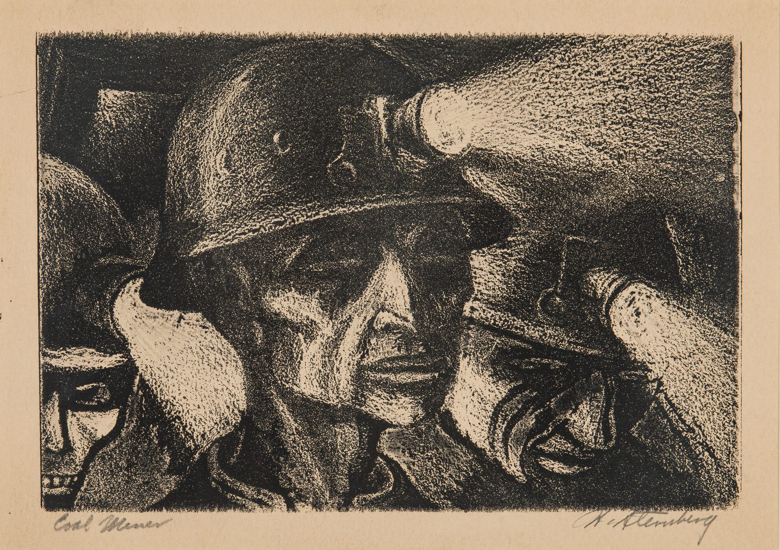 Lot 120: Harry Sternberg Crayon Aquatint, Coal Miner