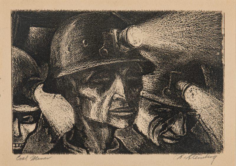 Lot 120: Harry Sternberg Crayon Aquatint, Coal Miner