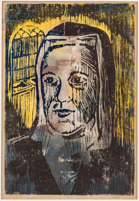 Lot 121: William Weege Color Wood Block Print, The Nun