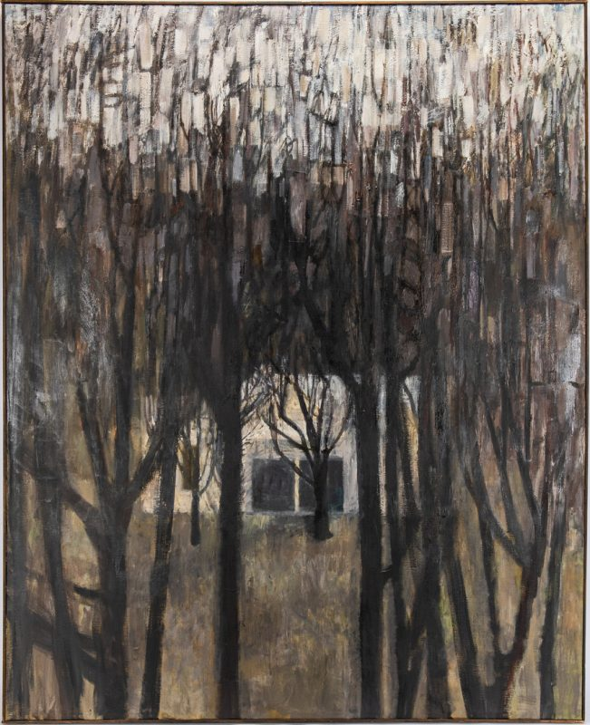 Lot 125: Joanna Higgs O/C Expressionist Landscape, Winter Trees