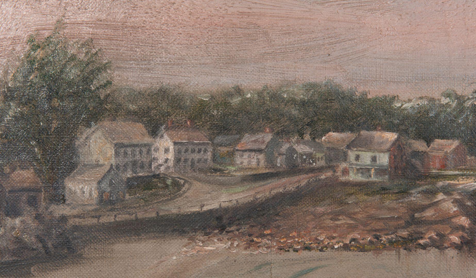 Lot 133: American School, MA Coastal Village, O/C