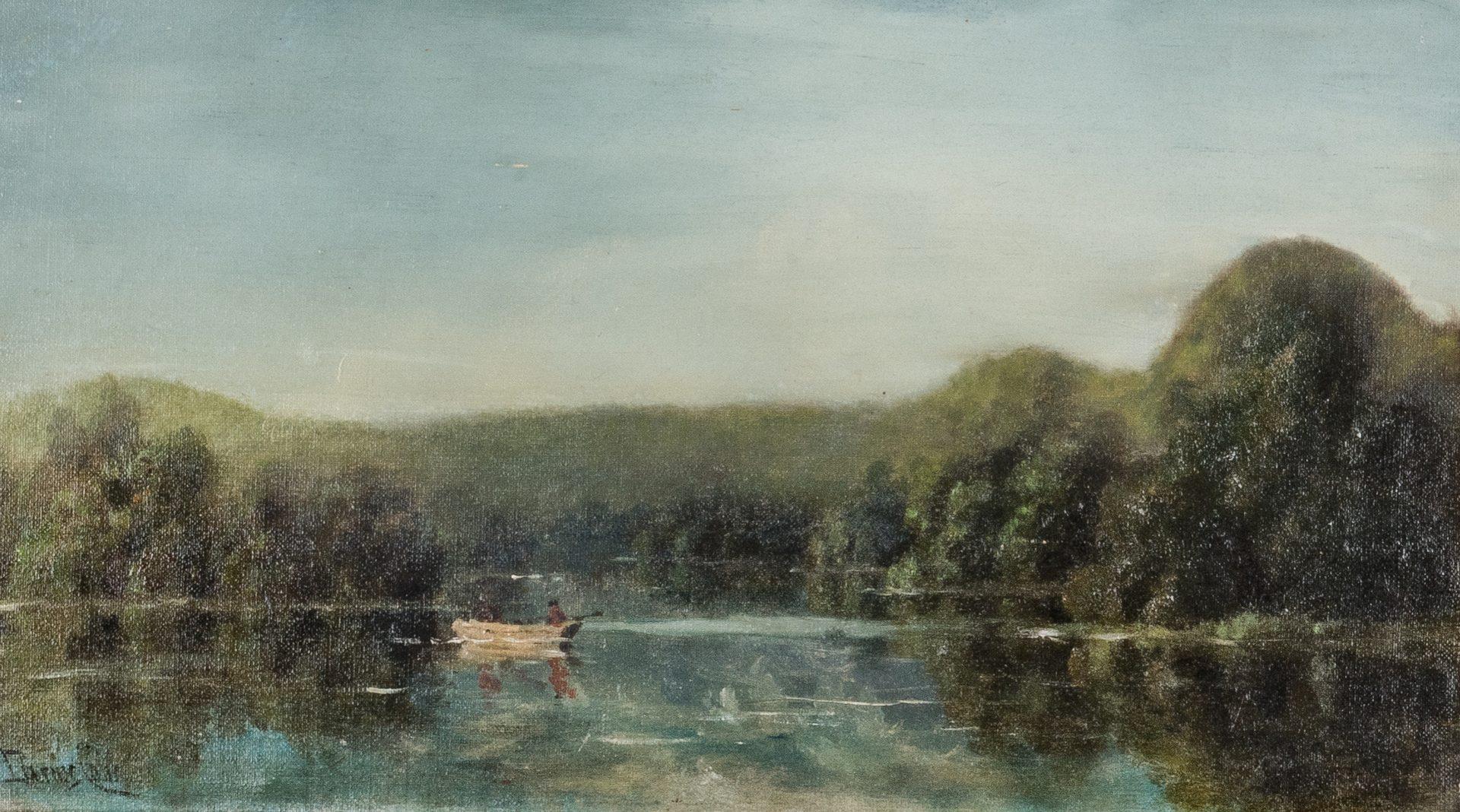 Lot 134: Darius Cobb O/C, Landscape w/ Lake Painting