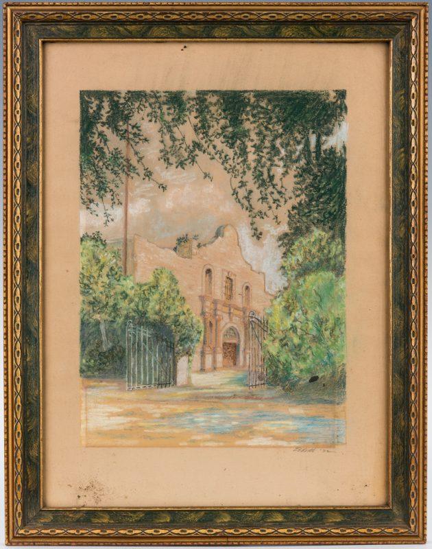 Lot 137: Signed American School Pastel of the Alamo