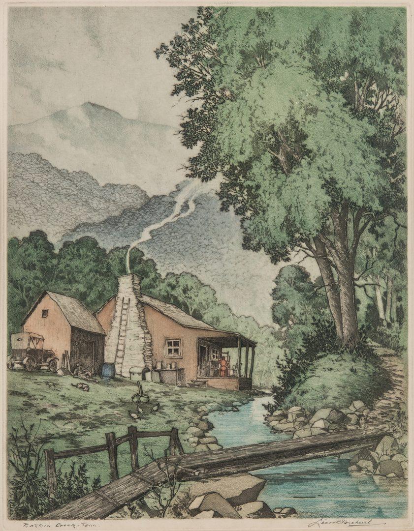Lot 138: Leon Pescheret Aquatint & Etching, Mt. LeConte, TN