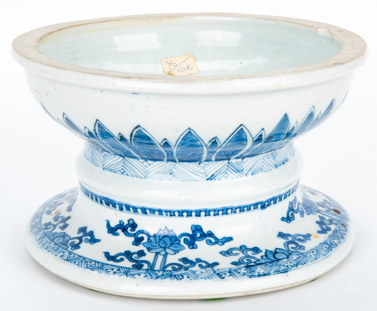 Lot 13: Asian Blue and White Bowls, Pedestal, and Jar, 5 items