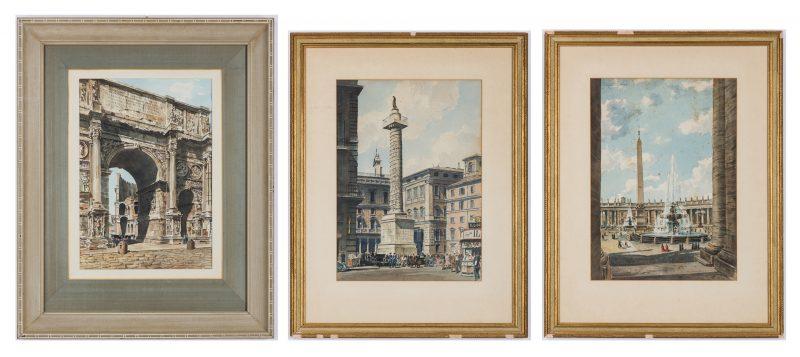 Lot 142: 3 Nowland Van Powell Roman Watercolor Paintings