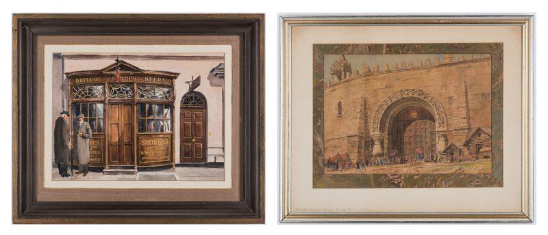 Lot 143: 2 Nowland Van Powell European Watercolor Paintings