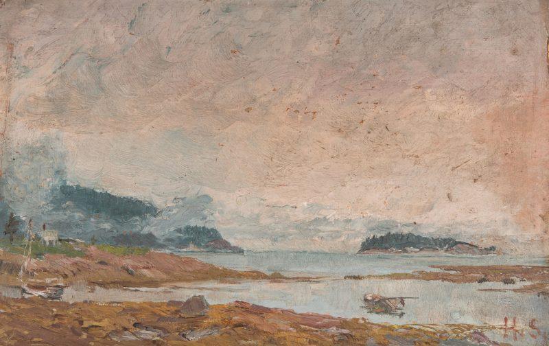 Lot 145: English Coastal Landscape c. 1896, signed HS
