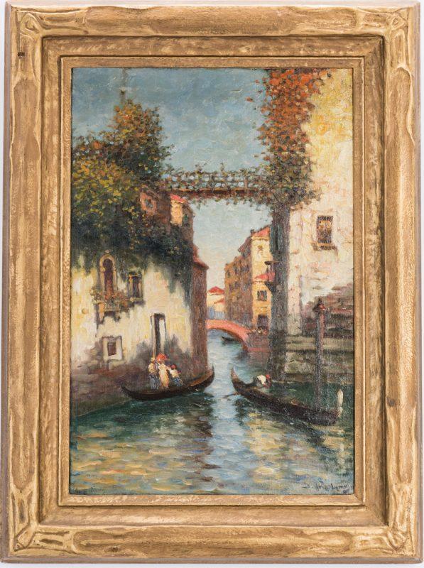 Lot 146: Richard De Ribcowsky O/C Canal Scene
