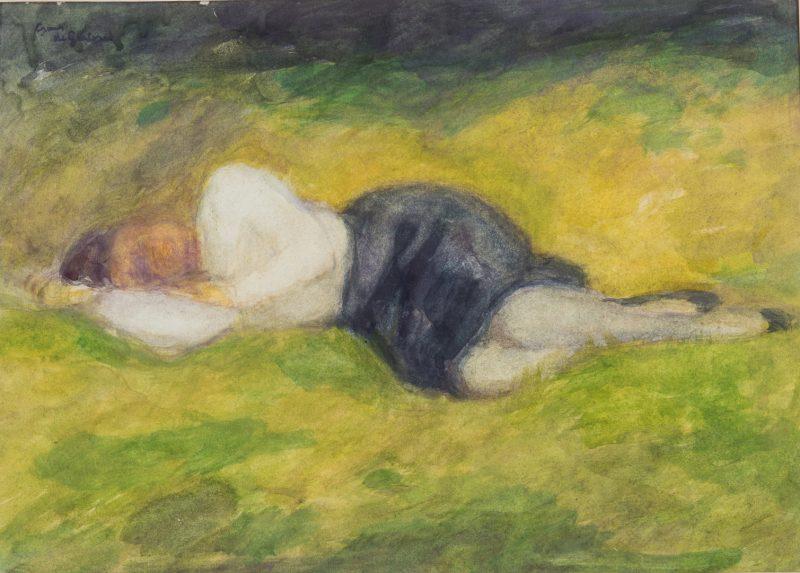 Lot 147: Frans de Geetere, W/C, Woman Sleeping