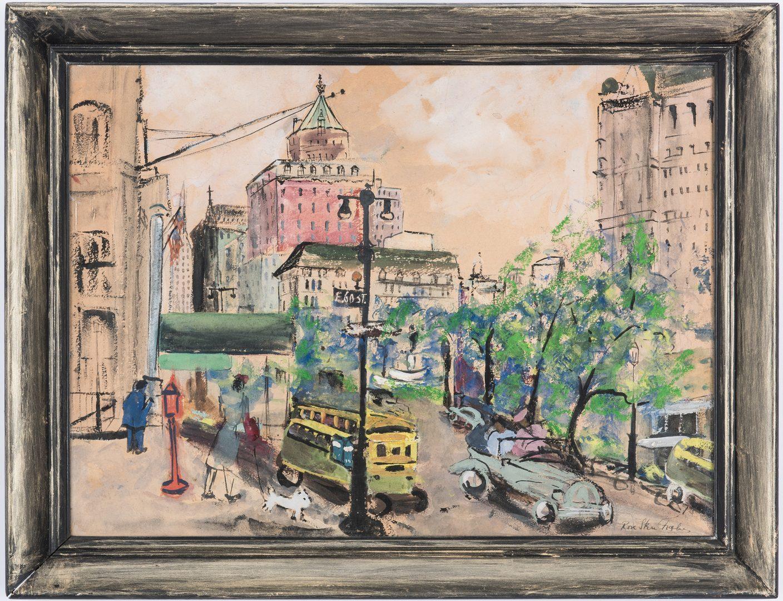 Lot 149: 2 Street Scenes: Emile Stahl, Rose Stern