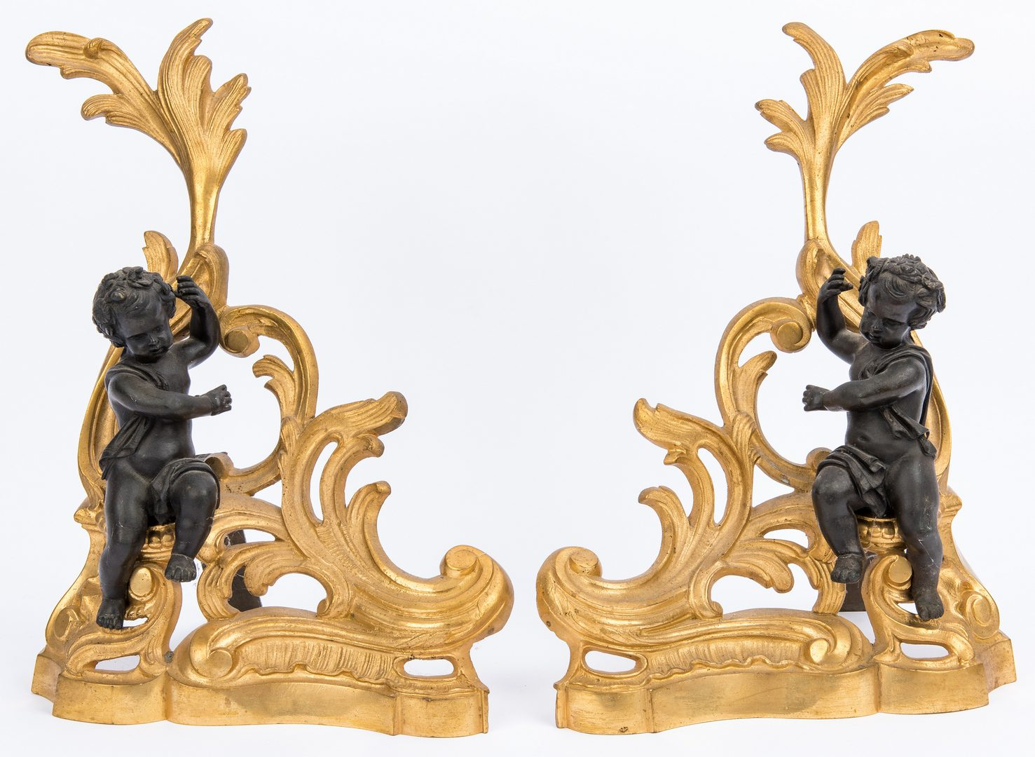 Lot 153: French Gilt Bronze Fireplace Fender & Chenets
