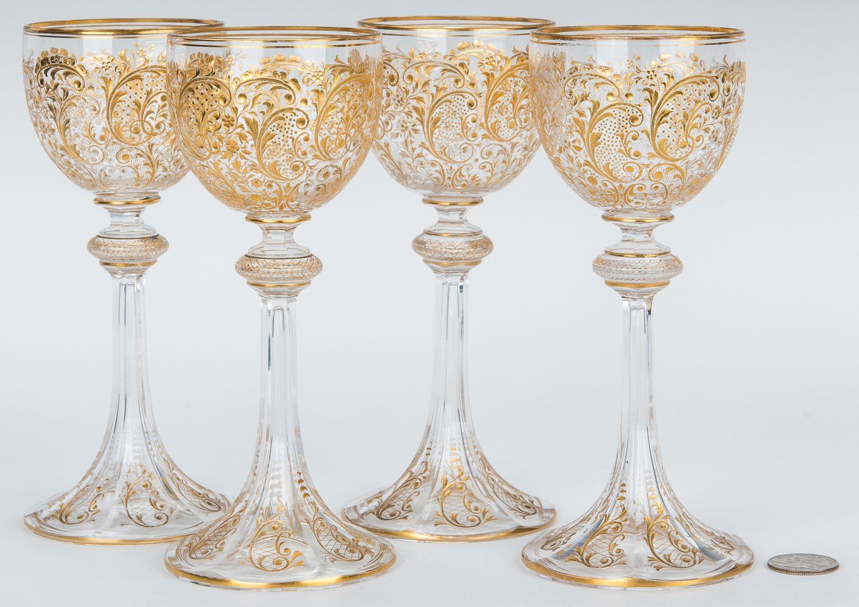 Lot 157: 14 Bohemian Art Glass Goblets w/ Gilt Highlights