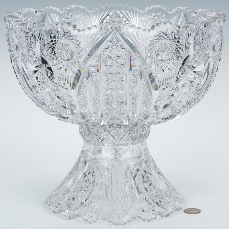 Lot 159: Brilliant Cut Glass Pedestal Punch Bowl