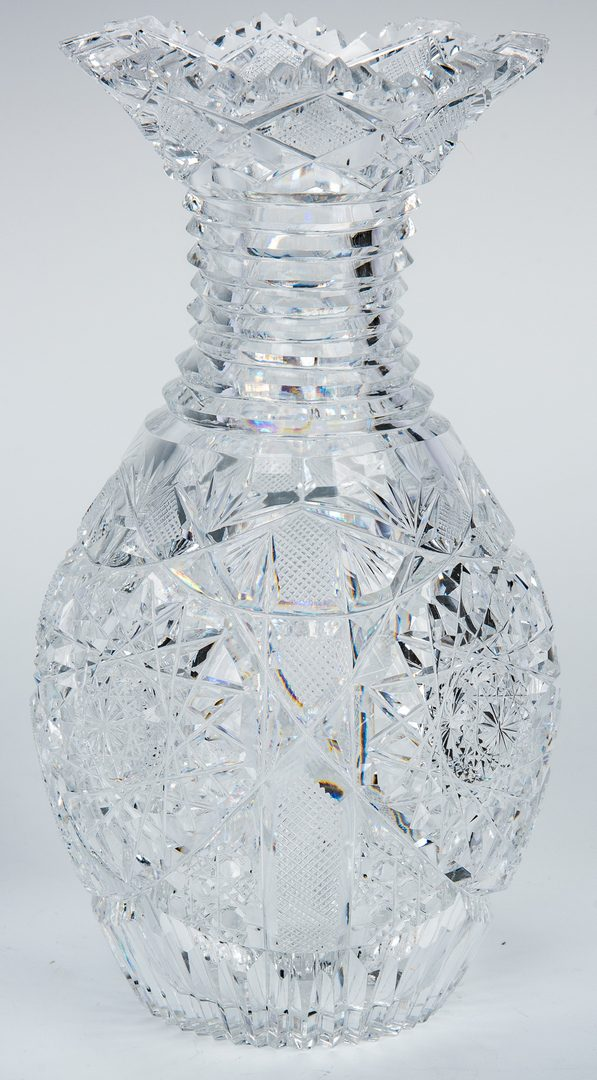 Lot 160: 2 Brilliant Cut Glass Vases w/ Ribbed Necks