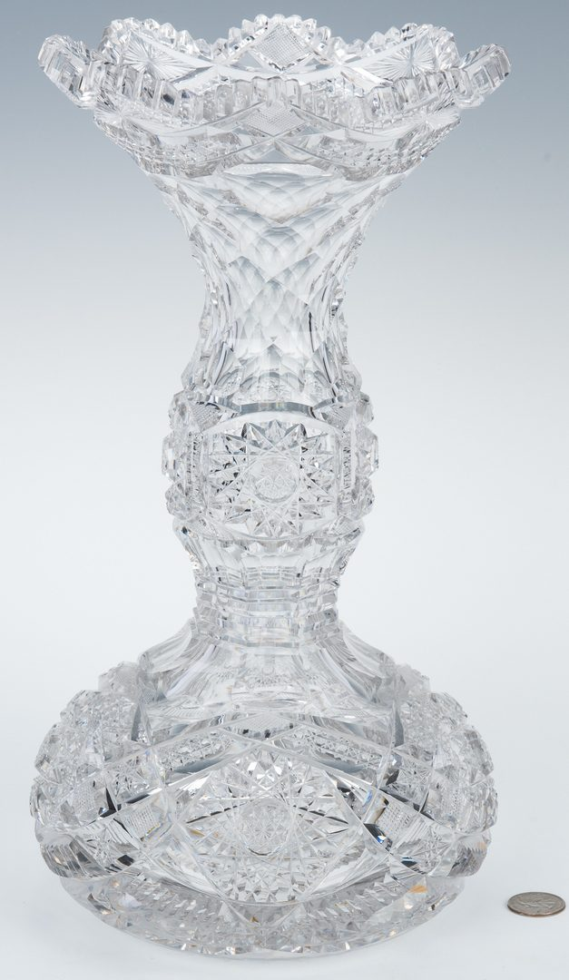 Lot 162: Tall American Brilliant Cut Glass Vase