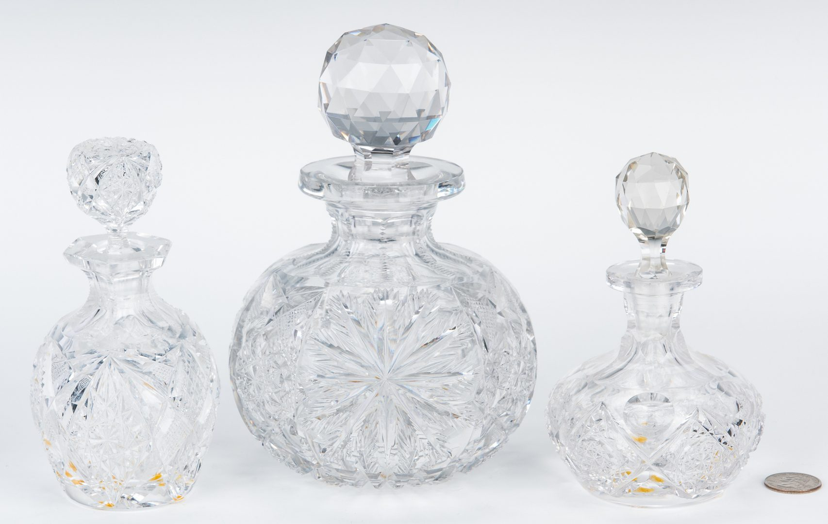 Lot 165: 3 Brilliant Cut Glass Scent Bottles