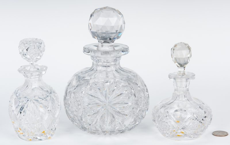 Lot 165: 3 Brilliant Cut Glass Scent Bottles