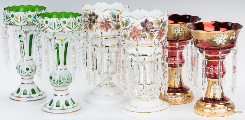 Lot 167: 3 Pairs Glass Mantle or Garniture Lustres