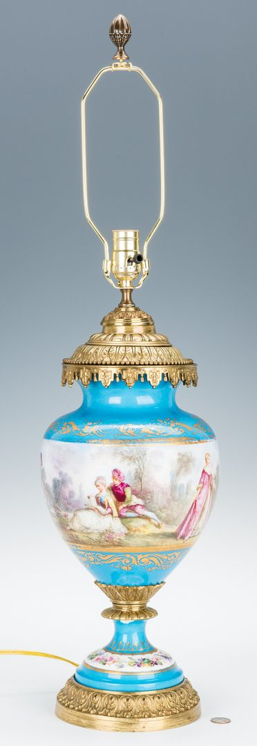 Lot 169: Sevres Style Gilt Bronze Mounted Lamp