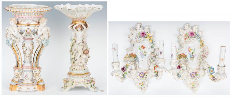 Lot 170: 2 Continental Porcelain Centerpieces & Pr. Wall Sconces