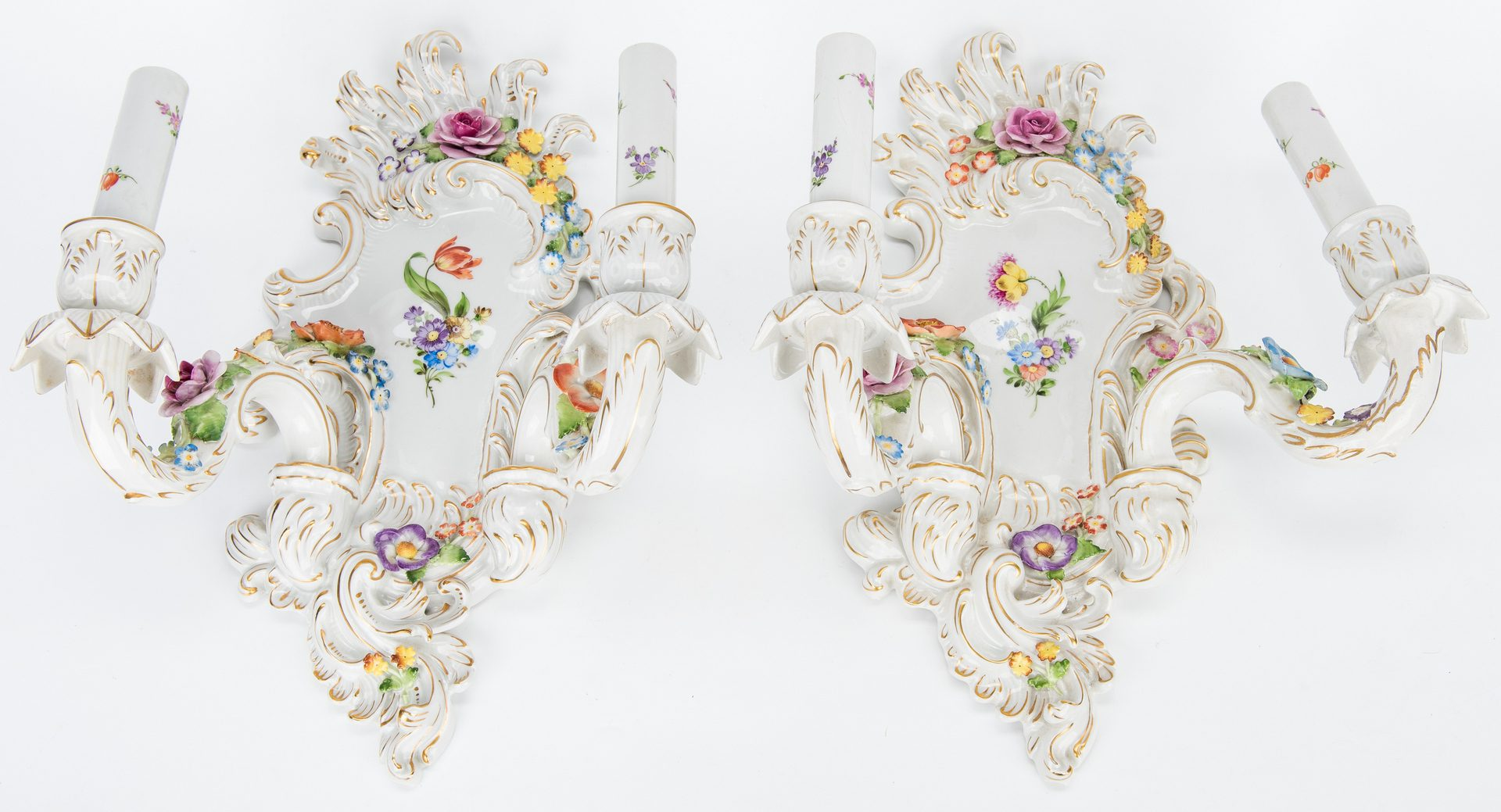 Lot 170: 2 Continental Porcelain Centerpieces & Pr. Wall Sconces