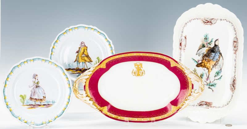 Lot 173: 4 French Ceramic Items, incl. Honore Savy, Guerin,