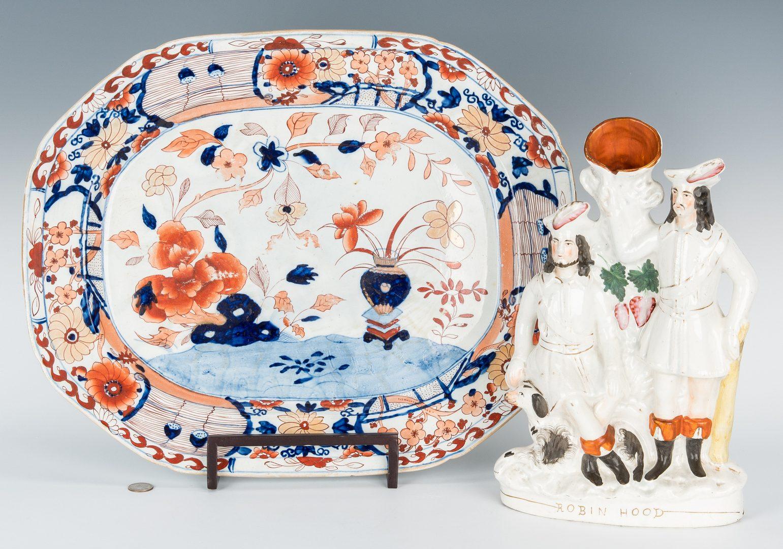 Lot 177: Mason Imari Style Charger & Staffordshire Robin Hood Vase
