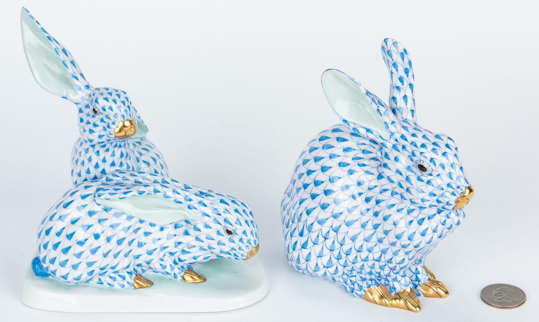 Lot 178: 2 Herend Porcelain Rabbit Figurals