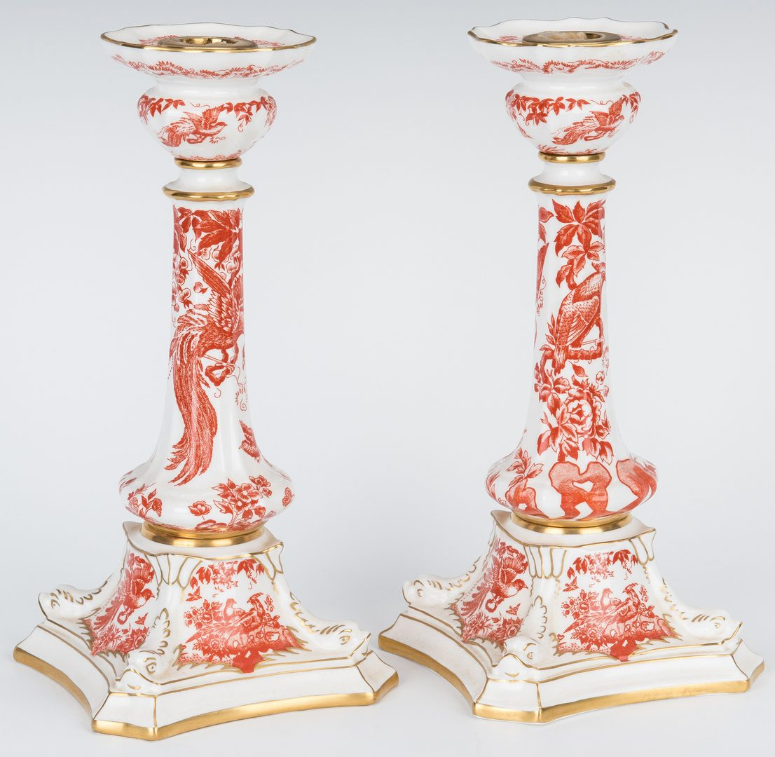 Lot 179: Pr. Royal Crown Derby Red Aves Candlesticks