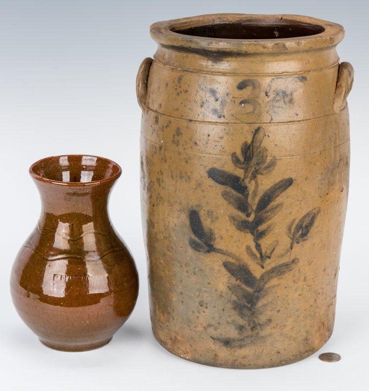 Lot 185: East TN Pottery Jar & Virginia S. Bell Pottery Vase