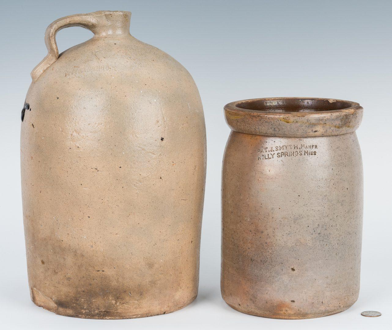 Lot 186: 2 Southern Stoneware Pottery Jars, Alabama & Mississippi