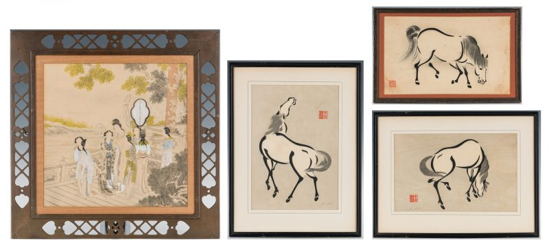 Lot 18: 4 Asian Works of Art, incl. Courtier Painting, Horse Prints