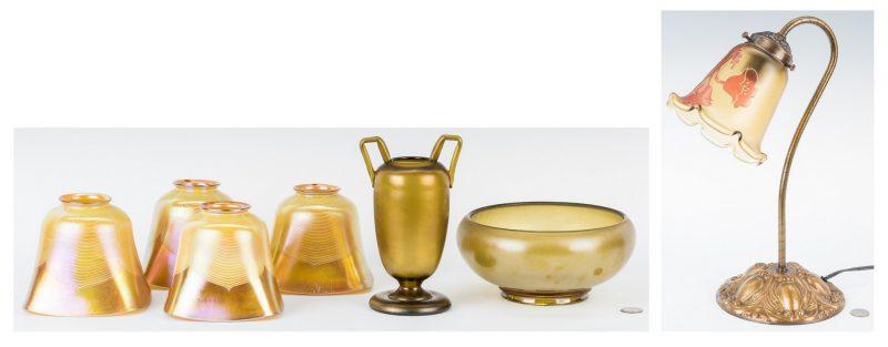 Lot 194: 7 Art Glass Items, incl. Lamp, Shades, Bowl & Vase