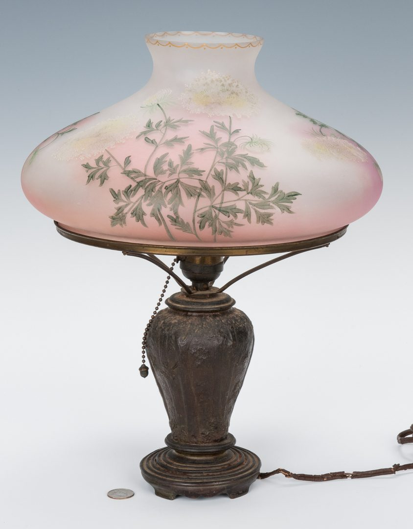 Lot 195: Handel Table Lamp, Forest Base with Floral Shade