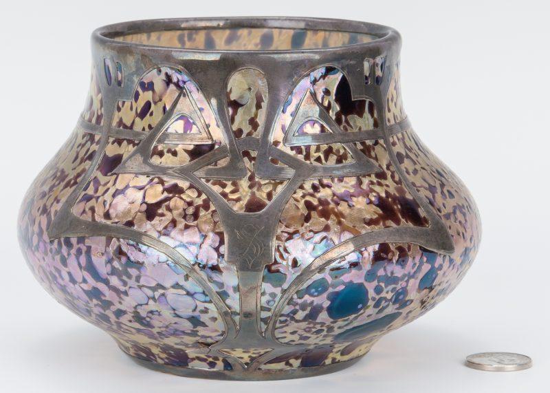 Lot 196: Fritz Heckert Art Glass Bowl w/ Silver Overlay