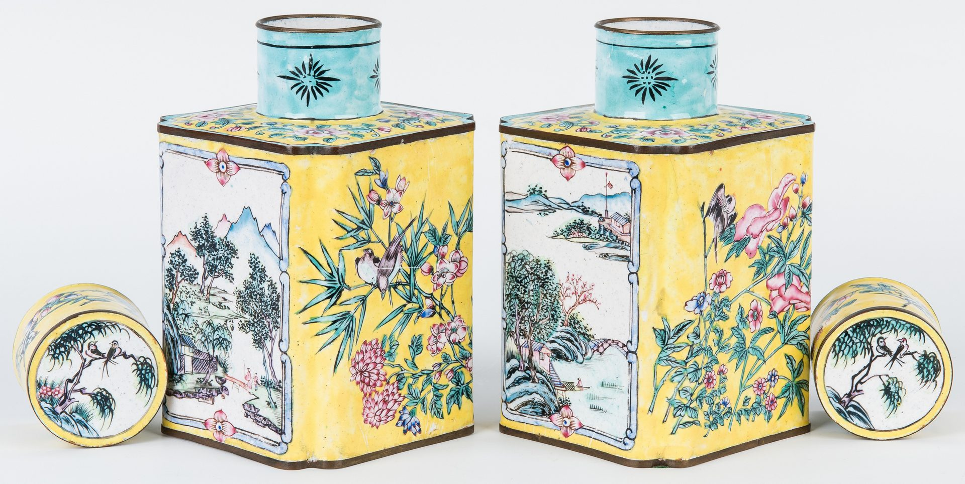 Lot 1: Pair of Chinese Enamel Tea Caddies