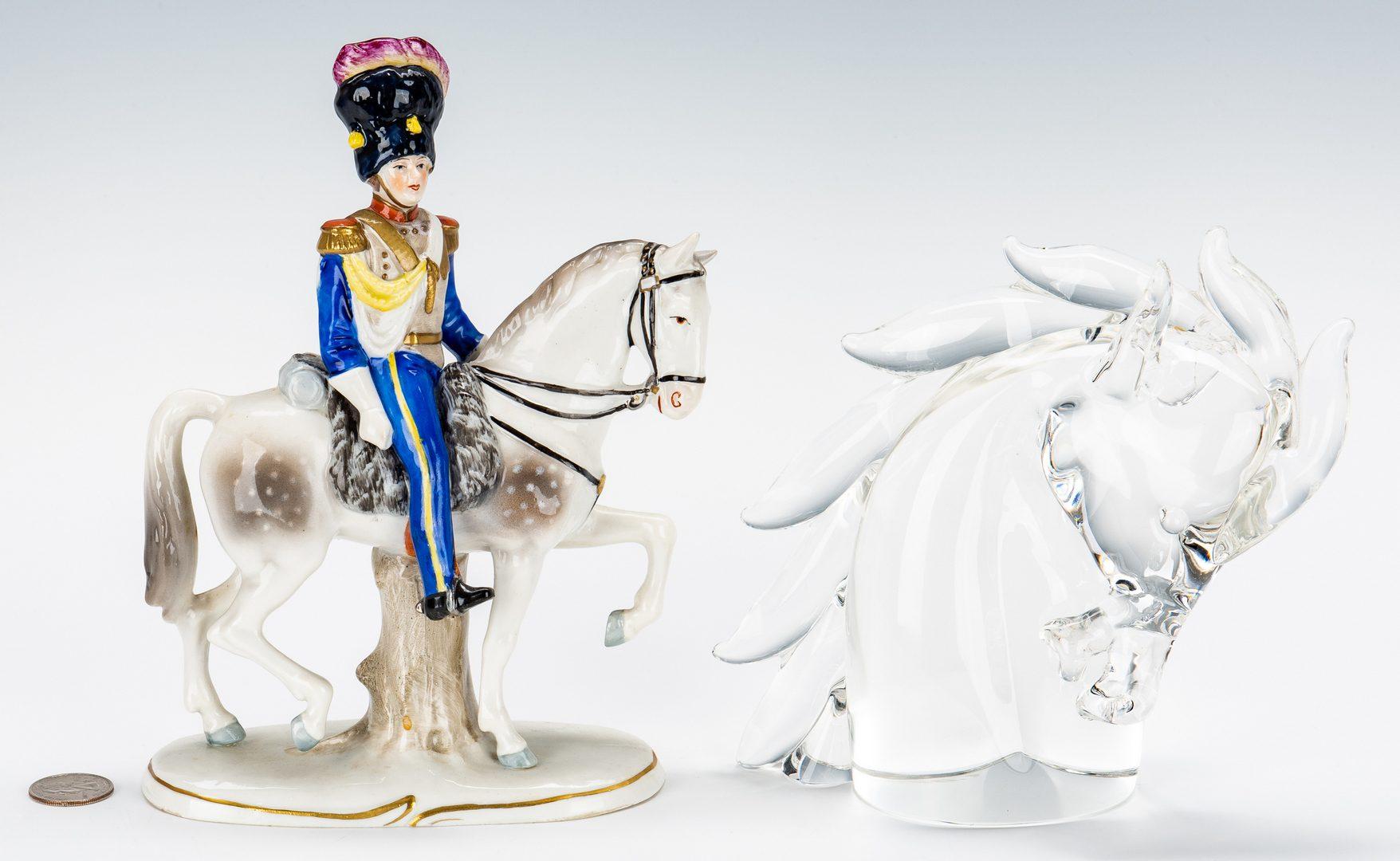 Lot 201: 2 Equestrian Figures, incl. Cartier & Sitzendorf