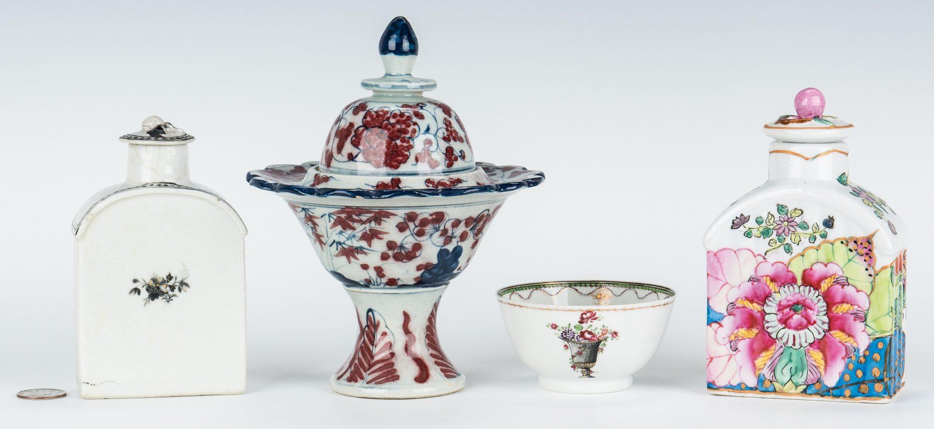 Lot 211: 4 Asian Porcelain Items, incl. tea caddies